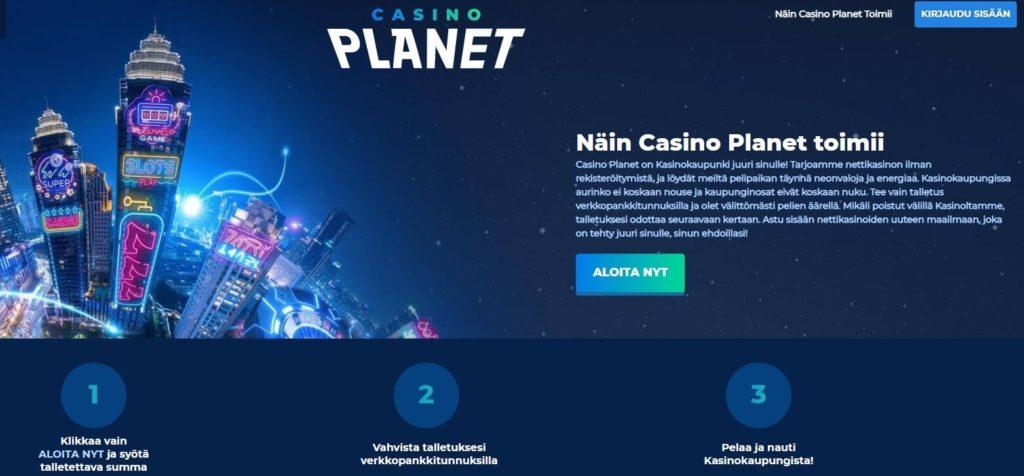 Casino Planet arvostelu etusivu