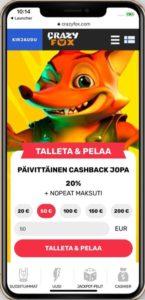 Crazy Fox mobiilikasino