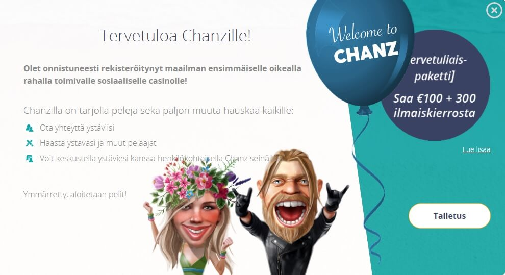 Chanz tervetuloa