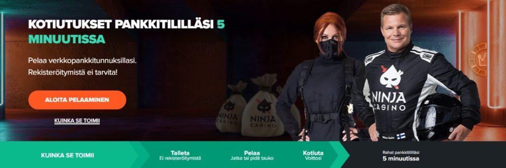 Ninja Casino arvostelun etusivu