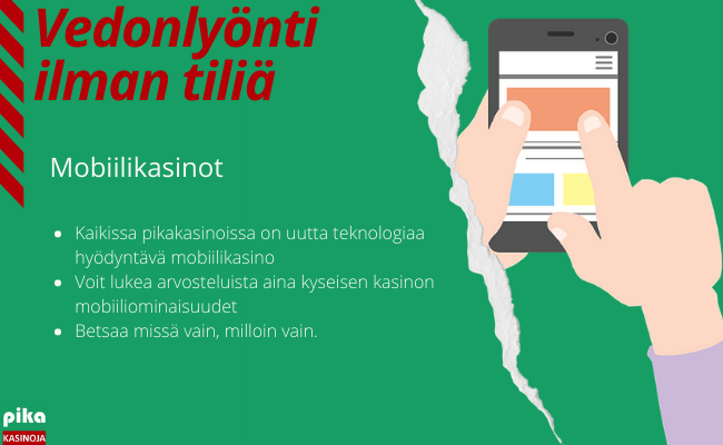 Vedonlyönti ilman rekisteröitymistä mobiilikasino