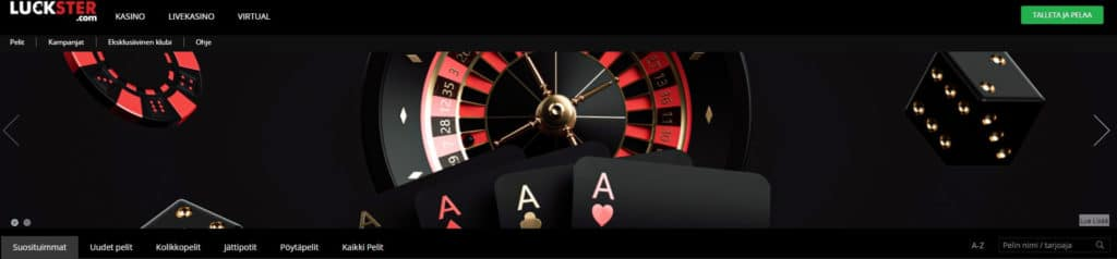 Luckster Casino etusivu